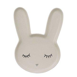 Ceramic Bunny Plate in White