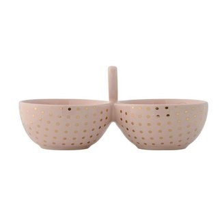 Ceramic Henrietta Double Bowl - Gold Dots