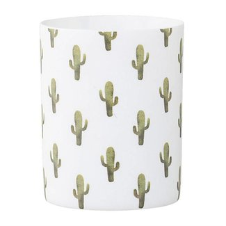 Ceramic Jade Votive Holder with Cactus
