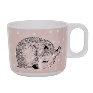 Powder & White Cup with Handle with Deer