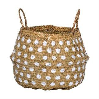 Seagrass Basket w/ Handles & Dots