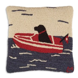 """Sea Dog Hooked Pillow 18"""""""