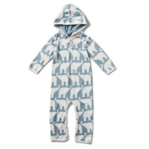 Milkbarn, LLC Organic Hooded Romper - Blue Elephant