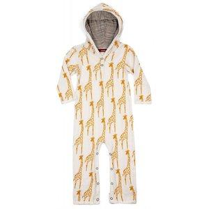 Milkbarn, LLC Organic Hooded Romper - Yellow Giraffe
