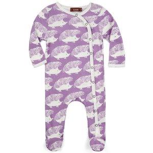 Milkbarn, LLC Organic Footed Romper - Lavender Hedgehog