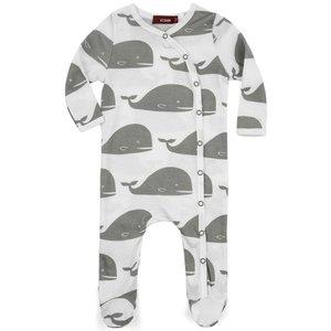 Milkbarn, LLC Organic Footed Romper - Grey Whale