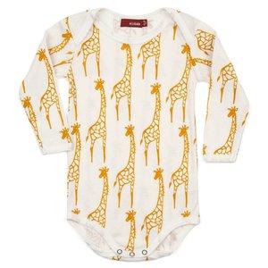 Milkbarn, LLC Organic One Piece Long Sleeve - Yellow Giraffe