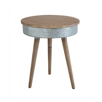 Round Birch & Metal Table with Lid