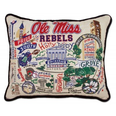 Catstudio Ole Miss University College Embroidered Pillow