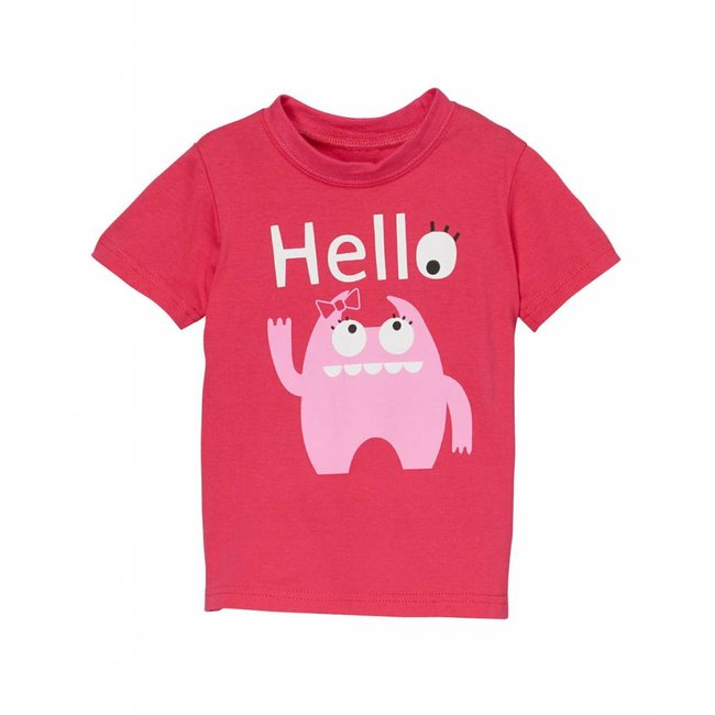 doodle pants Pink Monster Hello Tee