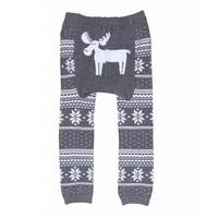 doodle pants Grey Fair Isle Moose Leggings 18-24