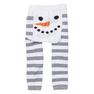 doodle pants White Snowman Stripe Leggings 3-12