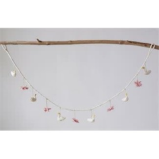 "72"" Wool Swan Garland with Flower"