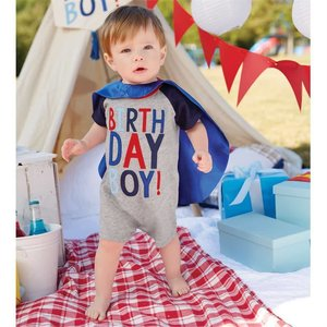 Mud Pie Birthday Boy Cape Shortall Set