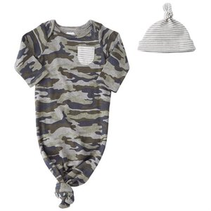 Mud Pie Camo Sleep Gown & Hat Set
