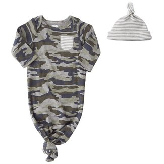 Mud Pie Camo Sleep Gown & Hat Set