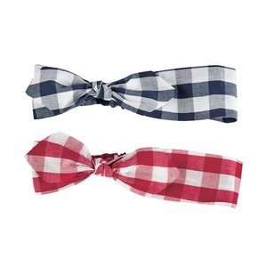 Mud Pie Gingham Knotted Bow Headbands