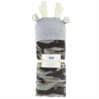Mud Pie Camo Cap & Blanket Set