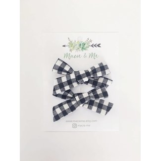 Macie and me Black and Cream Gingham Bows