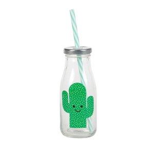 Sass & Belle Happy Cactus Mini Milk Bottle with Straw
