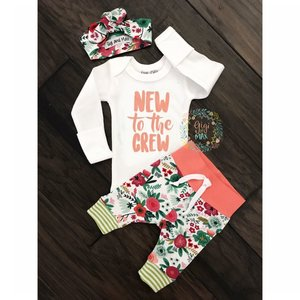 Gigi and Max Newborn Outfit Coral New to the Crew