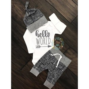 Gigi and Max Newborn Outfit Distressed Navy/Gray