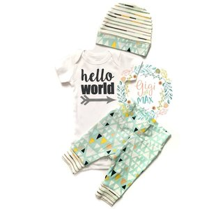 Gigi and Max Newborn Outfit Mint/Navy Mountains