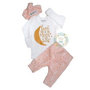 Gigi and Max Newborn Outfit Pink Moon and Back