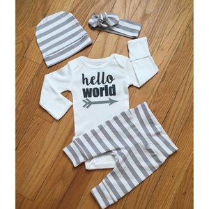 Gigi and Max Newborn Outfit Gray White Hello World
