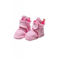 Zutano Candy Stripe Booties - Hot Pink