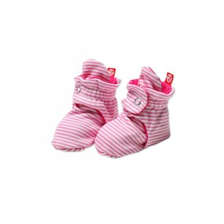 Zutano Candy Stripe Booties - Hot Pink