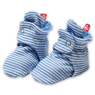 Zutano Candy Stripe Booties - Periwinkle