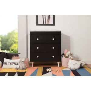 Million Dollar Baby Lolly 3-Drawer Changer Dresser Black/Washed Natural