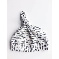 Macie and me Knotted Hat NB - Charcoal Stripe