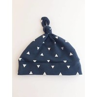 Macie and me Knotted Hat NB - Navy Triangle