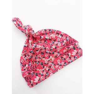 Macie and me Knotted Hat NB - Red Floral