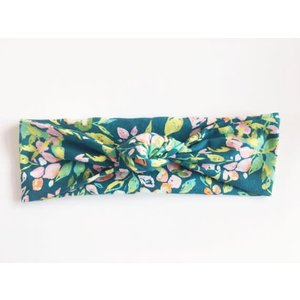 Macie and me Knotted Headband - Dark Teal Floral