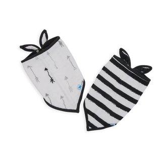 Little Unicorn Cotton Muslin Bandana Bib 2 Pack - Ink Stripe