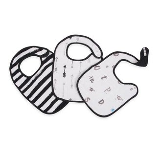 Little Unicorn Cotton Muslin Classic Bib 3 Pack - Black & White