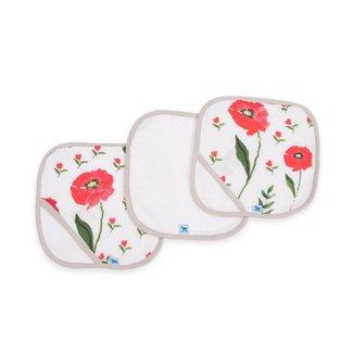 Little Unicorn Cotton Wash Cloth 3 Pack - Summer Poppy