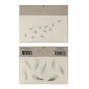 Meri Meri Silver Bird & Feather Tattoos