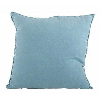 Graciella Pillow Fringed Linen 20 Square Navy Blue