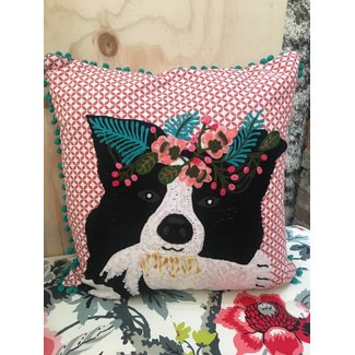 Dog with Floral Bouquet Pillow