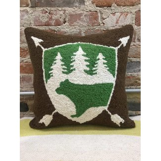 Bear Badge Hook PIllow 16x16