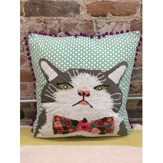 Cat with Floral Bow Tie Pillow