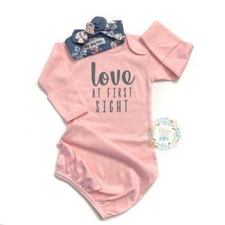 Gigi and Max Baby Girl Gown Love at First Sight w/Headband