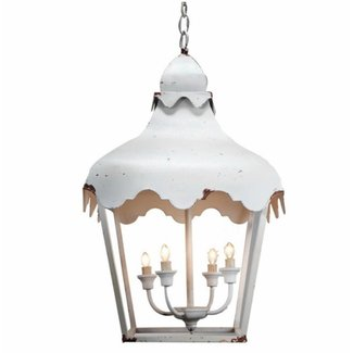 White Lantern Metal Chandelier