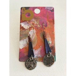 Bar with Disc Hanging Earrings