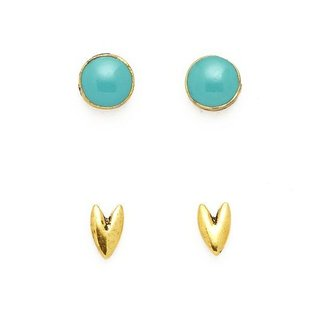 Gold Heart/Round Turquoise Earrings
