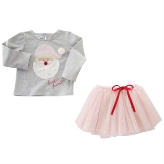 Mud Pie Santa Pink Tutu Skirt Set